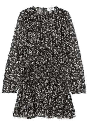 SAINT LAURENT - Shirred Printed Silk-georgette Mini Dress - Black