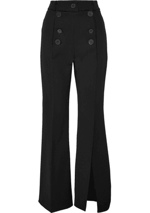 A.W.A.K.E. - Button-embellished Crepe Flared Pants - Black