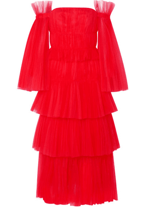 Carolina Herrera - Off-the-shoulder Tiered Tulle Gown - US0
