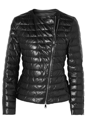 Moncler - Quilted Leather Down Jacket - Black