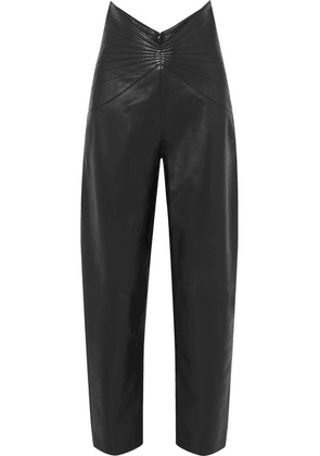 Attico - Ruched Leather Tapered Pants - Black