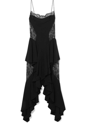 Alexandre Vauthier - Ruffled Paneled Lace And Crepe Midi Dress - Black