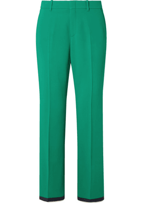 Gucci - Grosgrain-trimmed Stretch-cady Bootcut Pants - Green