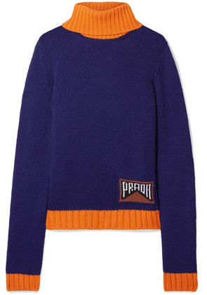 Prada - Intarsia Cashmere-blend Turtleneck Sweater - Indigo