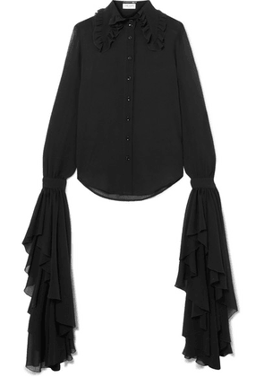 SAINT LAURENT - Ruffled Silk-chiffon Blouse - Black