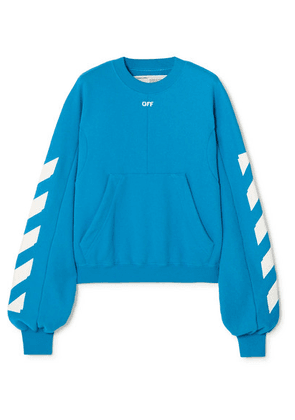 Off-White - Diag Printed Cotton-blend Sweatshirt - Blue