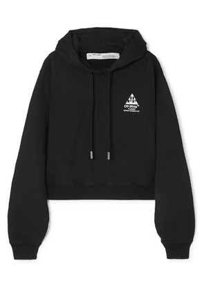 Off-White - Printed Cotton-jersey Hoodie - Black