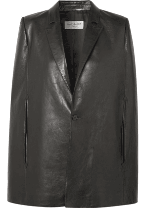SAINT LAURENT - Leather Cape - Black