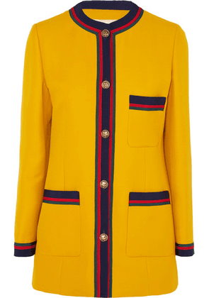 Gucci - Grosgrain-trimmed Wool And Silk-blend Blazer - Yellow
