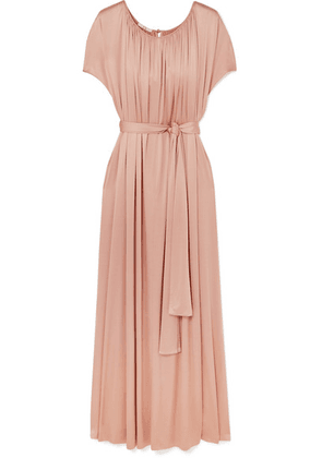 Co - Gathered Stretch-sateen Maxi Dress - Pastel pink