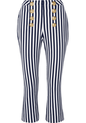 Balmain - Cropped Button-embellished Striped Cotton-drill Flared Pants - Navy