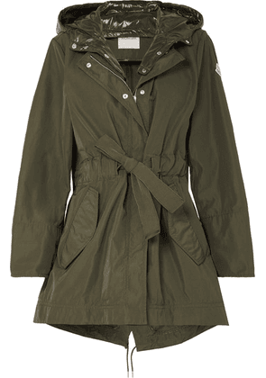Moncler - Hooded Gabardine And Glossed-shell Jacket - Army green