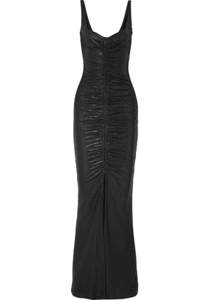 Galvan - Sahara Ruched Lamé Maxi Dress - Midnight blue