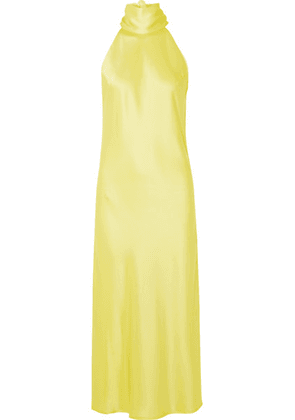Galvan - Sienna Satin Halterneck Midi Dress - Yellow