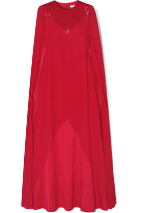 Givenchy - Cape-effect Beaded Wool-crepe And Silk-chiffon Gown - Red