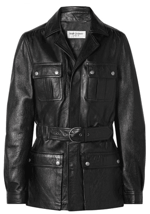 Saint Laurent - Belted Leather Jacket - Black