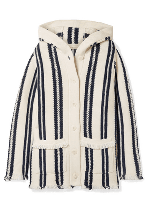 Tory Burch - Hooded Fringed Striped Linen And Wool-blend Cardigan - Ivory