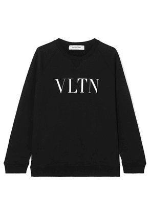 Valentino - Printed Cotton-blend Jersey Sweatshirt - Black