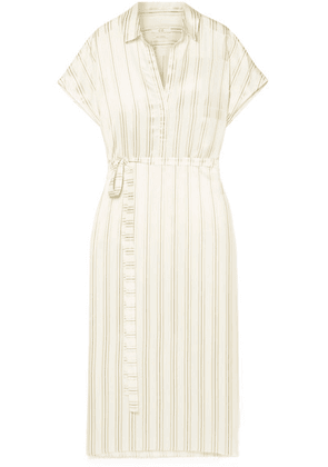 Co - Belted Striped Satin-twill Midi Dress - Cream