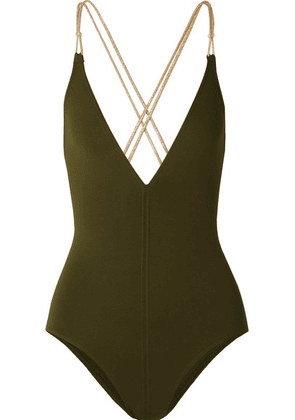 Eres - Bangles Blondi Metallic-trimmed Swimsuit - Army green