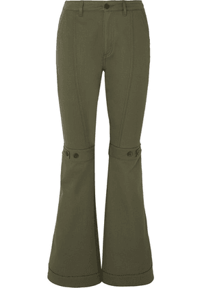 Loewe - Button-detailed Cotton-twill Flared Pants - Army green