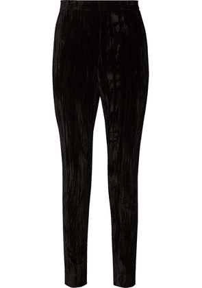 Saint Laurent - Crushed-velvet Slim-leg Pants - Black