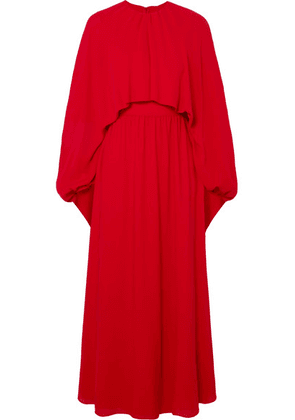 Valentino - Cape-effect Silk-crepe Gown - Red