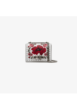 Alexander McQueen white and red jewelled knuckleduster cross body bag