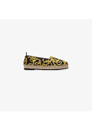 Versace black and yellow tribute leather espadrilles