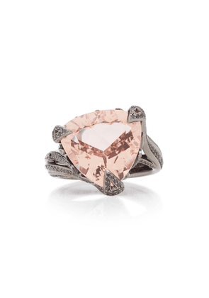 Akillis Rhodium-Plated 18K Gold Morganite And Diamond Ring