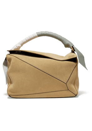 Loewe - Puzzle Color-block Suede And Leather Shoulder Bag - Beige