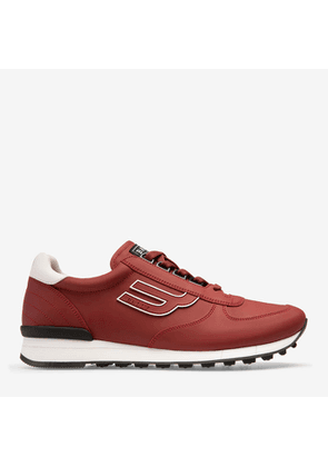 Bally Galaxy Red, Men's rubberized leather trainer in Bally Red