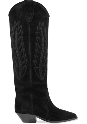 Isabel Marant - Denzy Embroidered Suede Knee Boots - Black