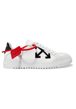 Off-White - Suede-trimmed Logo-appliquéd Textured-leather Sneakers - IT41