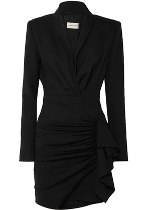 Alexandre Vauthier - Ruched Wool-blend Twill Mini Dress - Black
