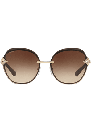 Bulgari oversized round frame sunglasses - Metallic