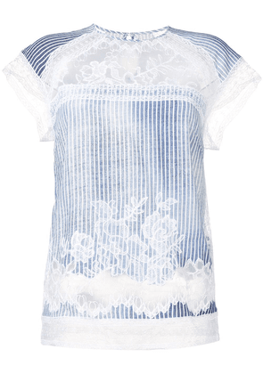 Ermanno Scervino scalloped lace striped T-shirt - Blue