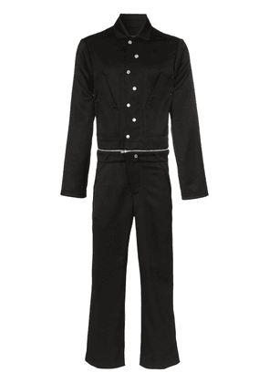 Mackintosh 0004 detachable straight leg collared jumpsuit - Black