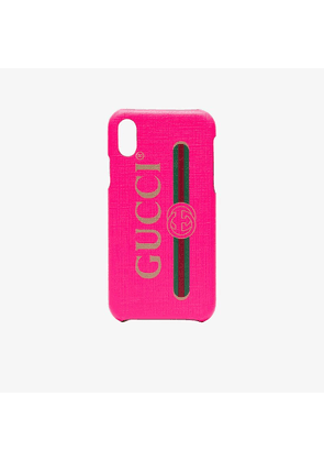Gucci fluorescent pink PVC iPhone X/XS case