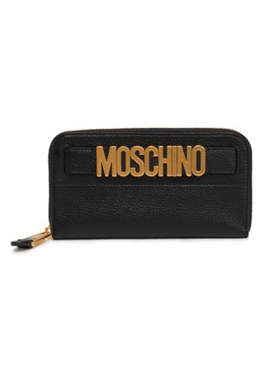 Moschino Woman Embellished Textured-leather Wallet Black Size -