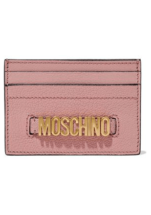 Moschino Woman Embellished Textured-leather Cardholder Pink Size -