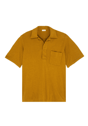 Chest pocket terry polo shirt