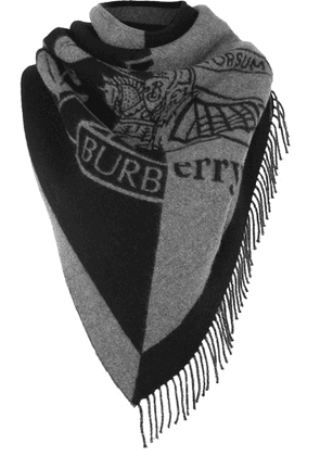 Burberry - Fringed Two-tone Intarsia Wool And Cashmere-blend Scarf - Gray