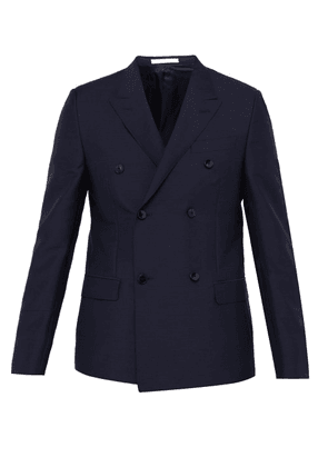 Valentino - Rockstud Double Breasted Mohair Blend Blazer - Mens - Navy