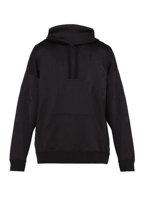 Valentino - Logo Print Hooded Sweatshirt - Mens - Black