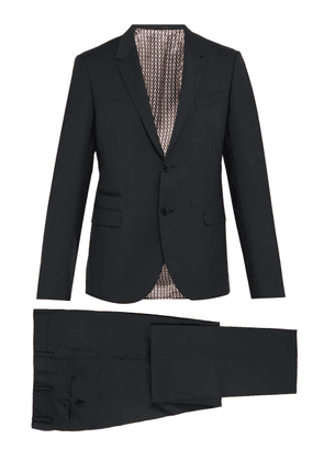 Valentino - Slim Fit Single Breasted Wool Blend Suit - Mens - Grey