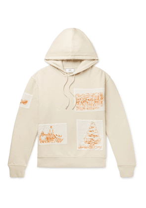 AMI - Appliquéd Fleece-back Cotton-jersey Hoodie - Cream