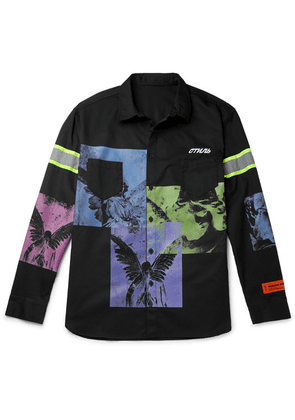 Heron Preston - Oversized Reflective-trimmed Printed Twill Shirt - Black