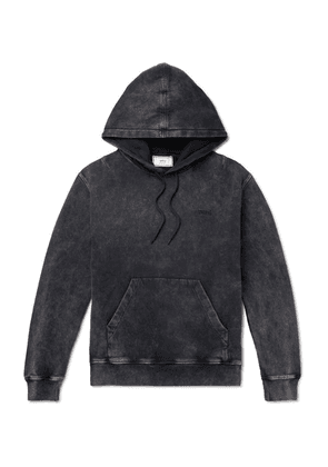 AMI - Acid-wash Fleeceback Cotton-jersey Hoodie - Black