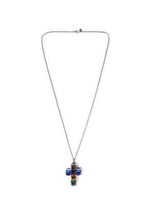 Gucci - Engraved Burnished Sterling Silver And Enamel Necklace - Multi